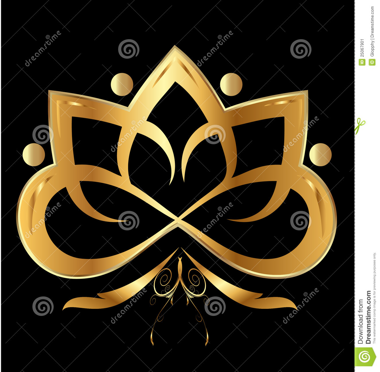 gold flower lotus ornament stock image image 25067901