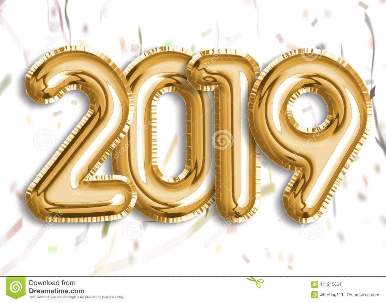 Gold Foil Balloon 2019 With Confetti Stock Illustration