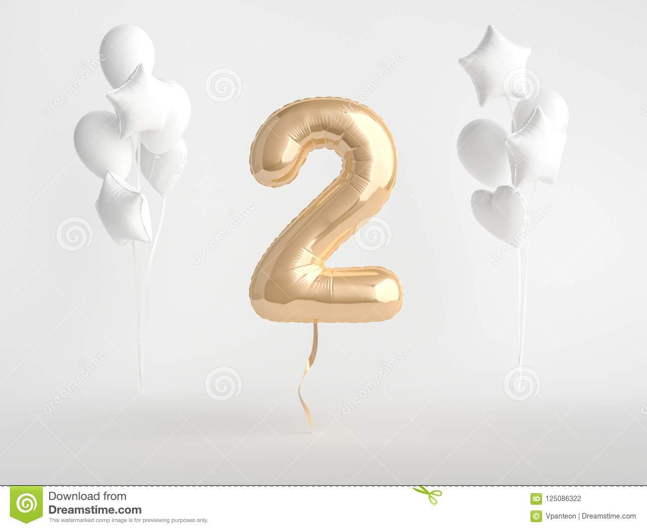 2 Gold Foil Balloon Number Two Stock Illustration Of Baloon