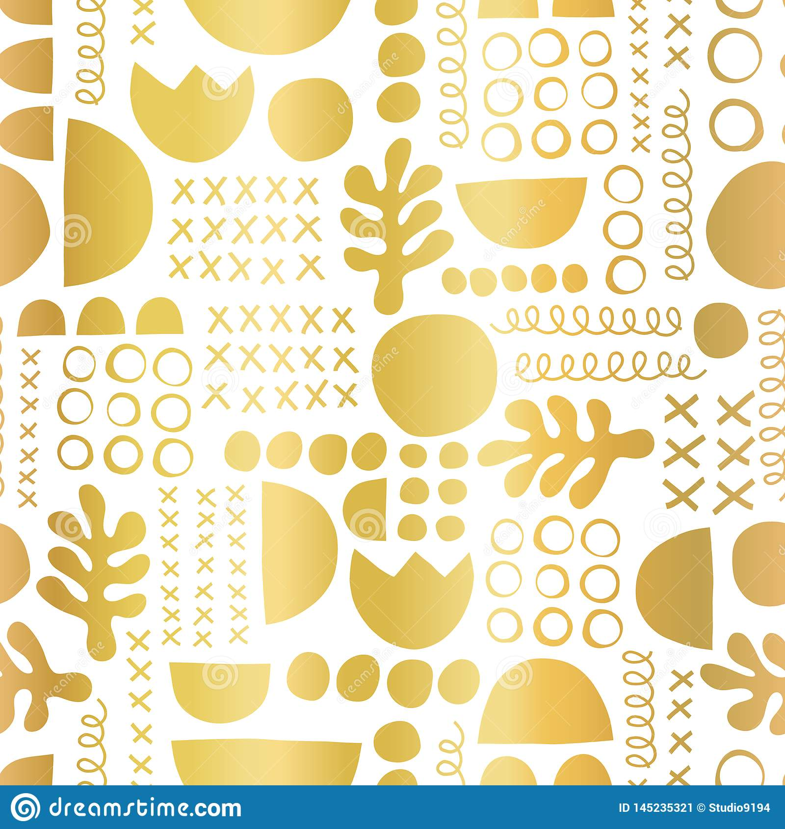 Gold foil geometric shapes on black seamless vector background. Metallic golden leaf plant and abstract shapes pattern