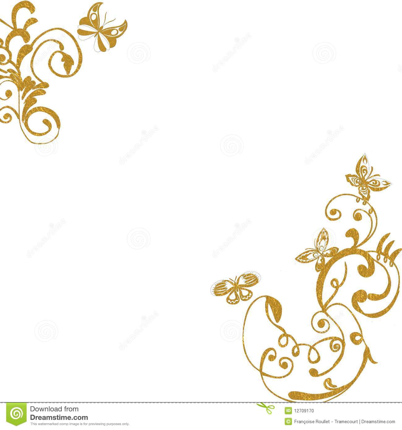 Gold Foliage Butterflies Background