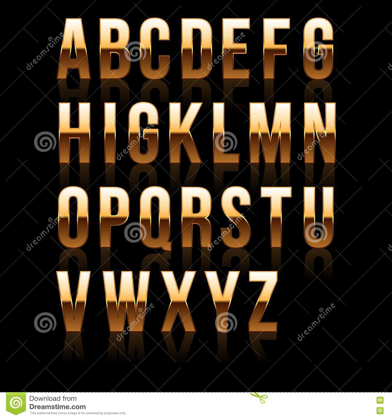 Gold Font Set 1  File Contains Graphic Style  Stock Vector