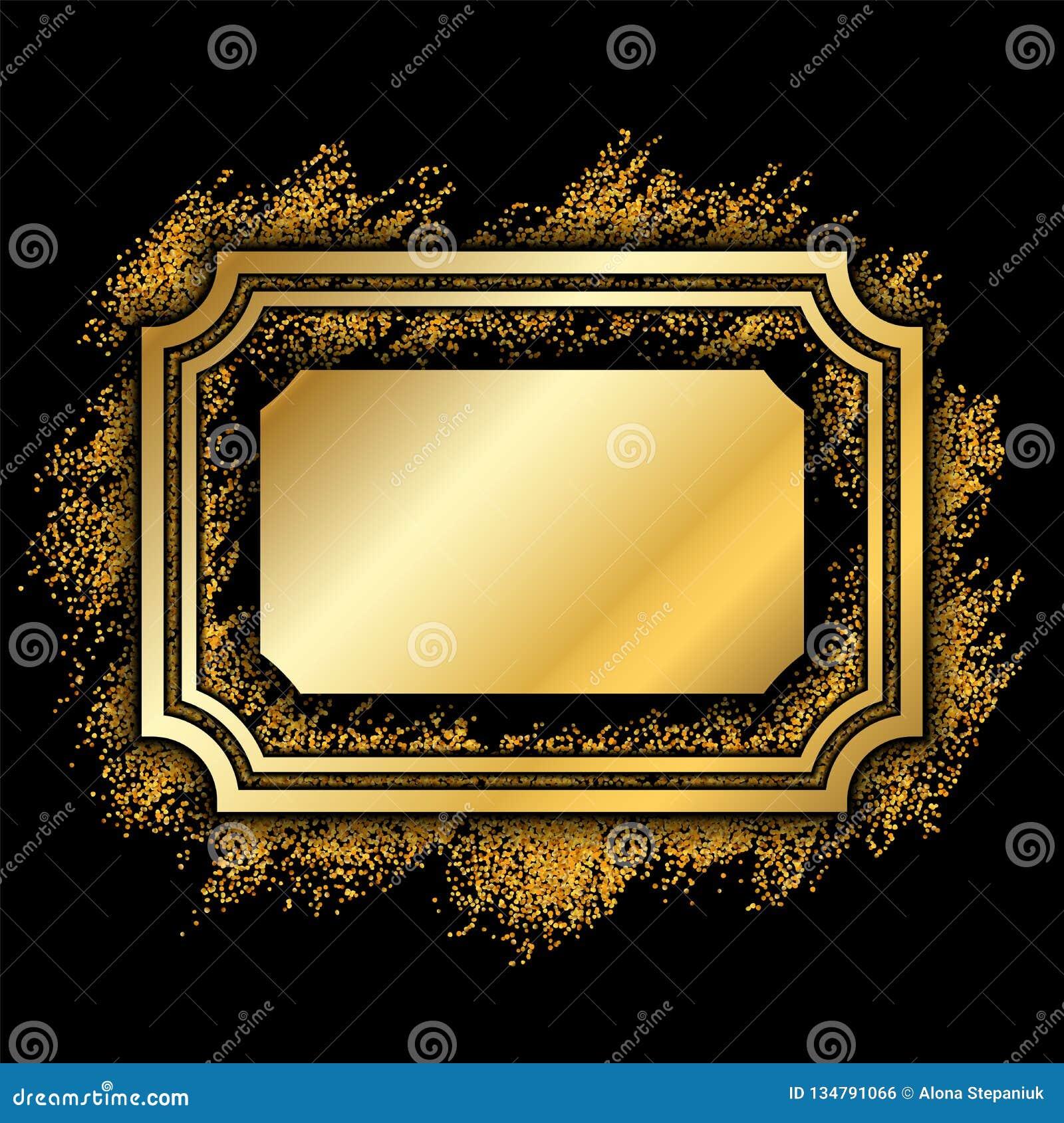 9b2c53c56b84 Gold frame. Beautiful golden glitter design. Vintage style decorative  border