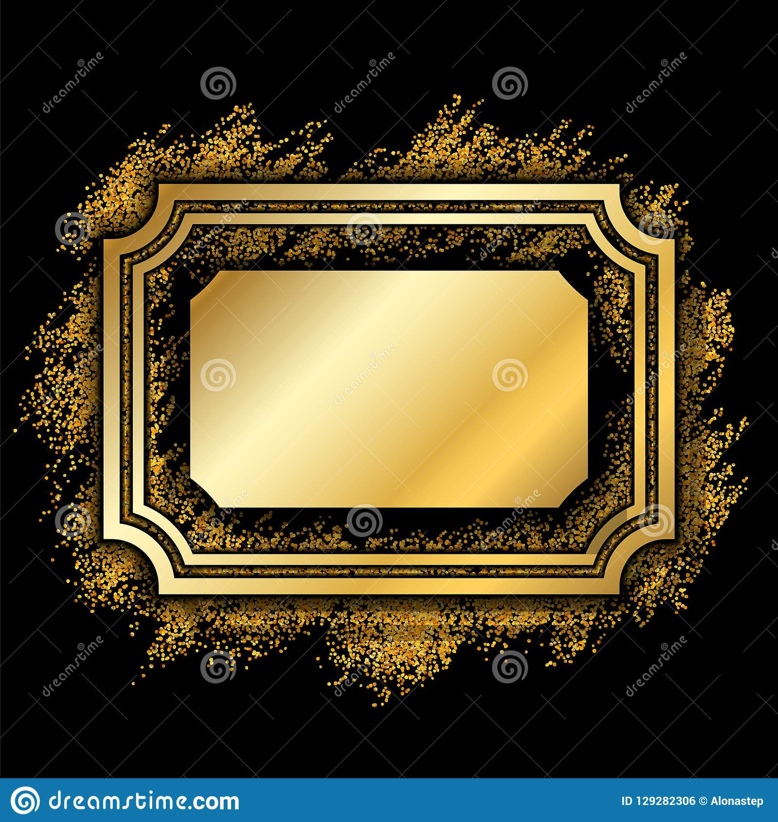 1230939c0a8 Royalty-Free Vector. Gold frame. Beautiful golden glitter design. Vintage  style decorative border
