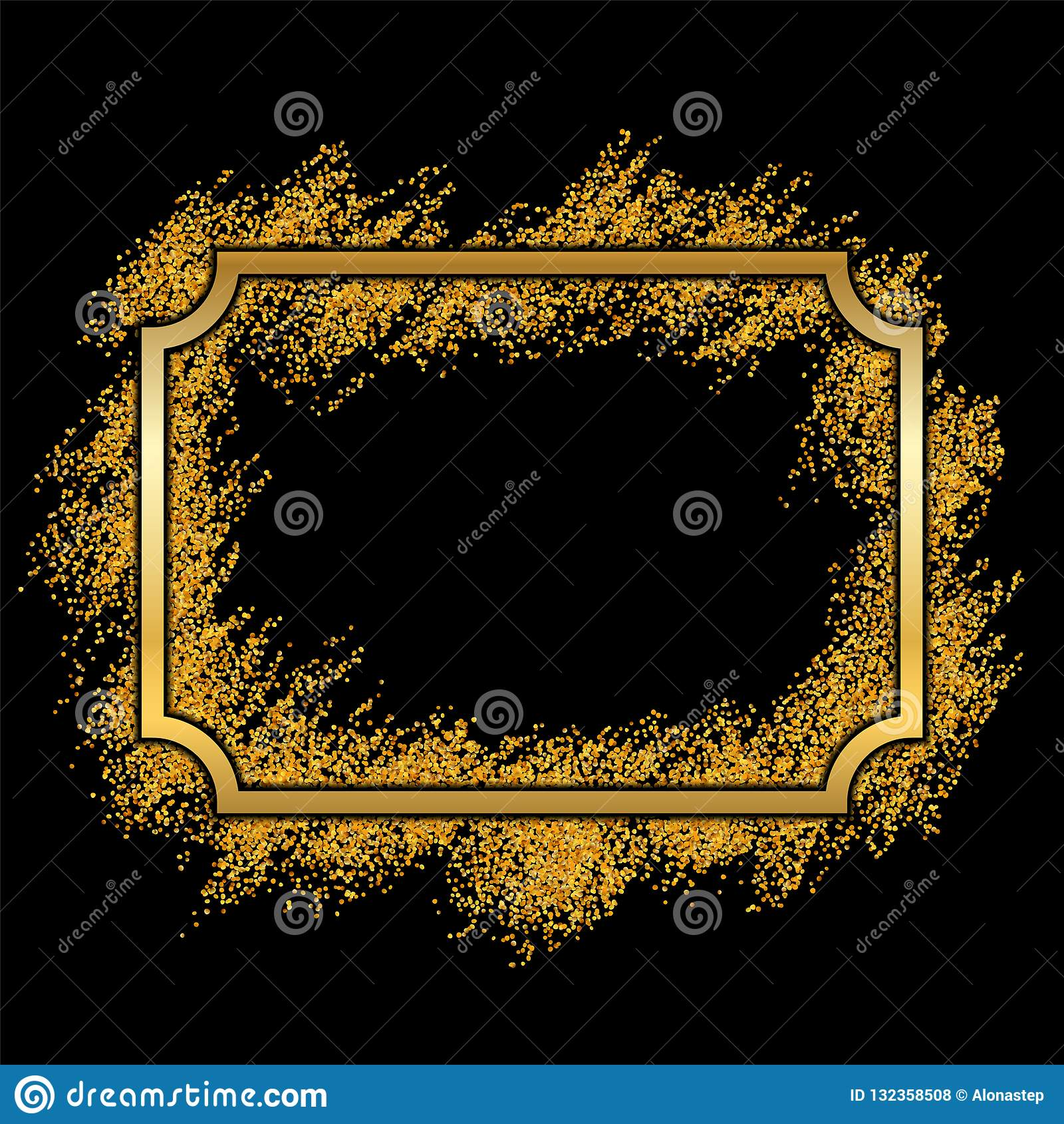 21f23c6cd788 Royalty-Free Vector. Gold frame. Beautiful golden glitter design. Vintage  style decorative border