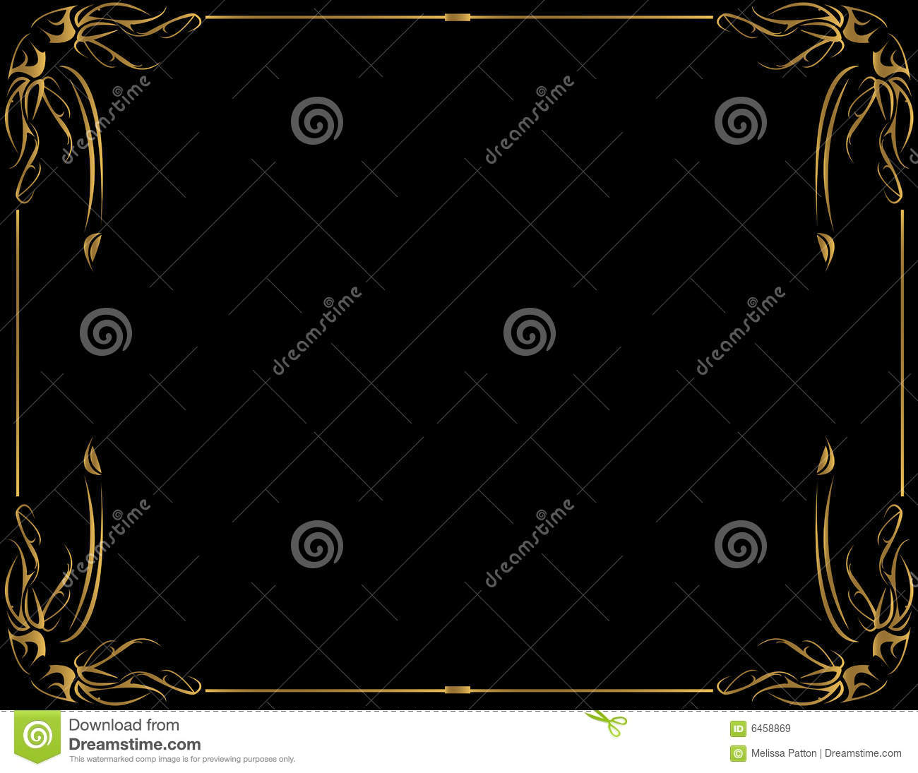 Gold Frame On Black Background Royalty Free Stock Images