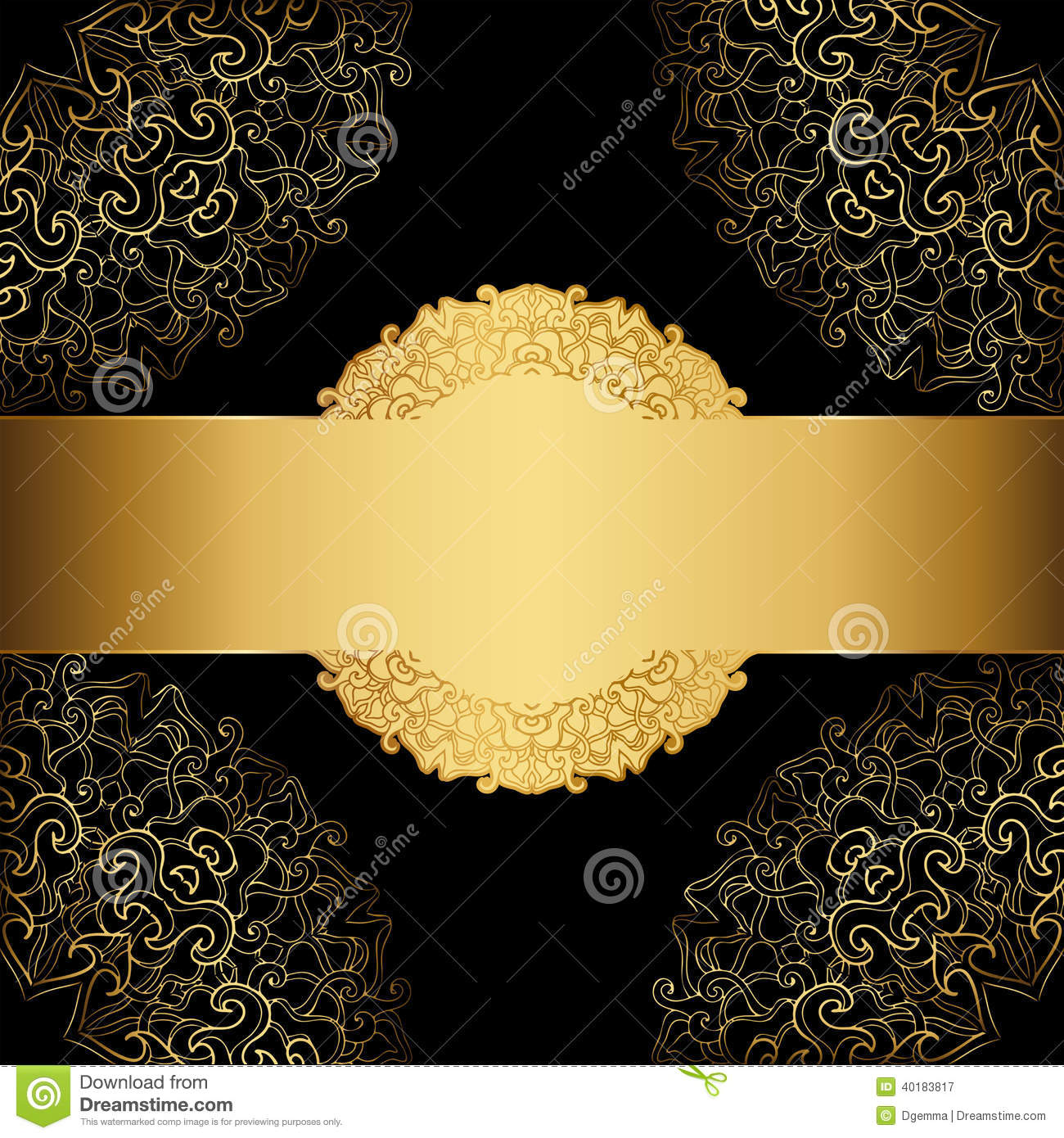 Luxury Floor Plan Gold Frame On A Black Background Stock Vector Image