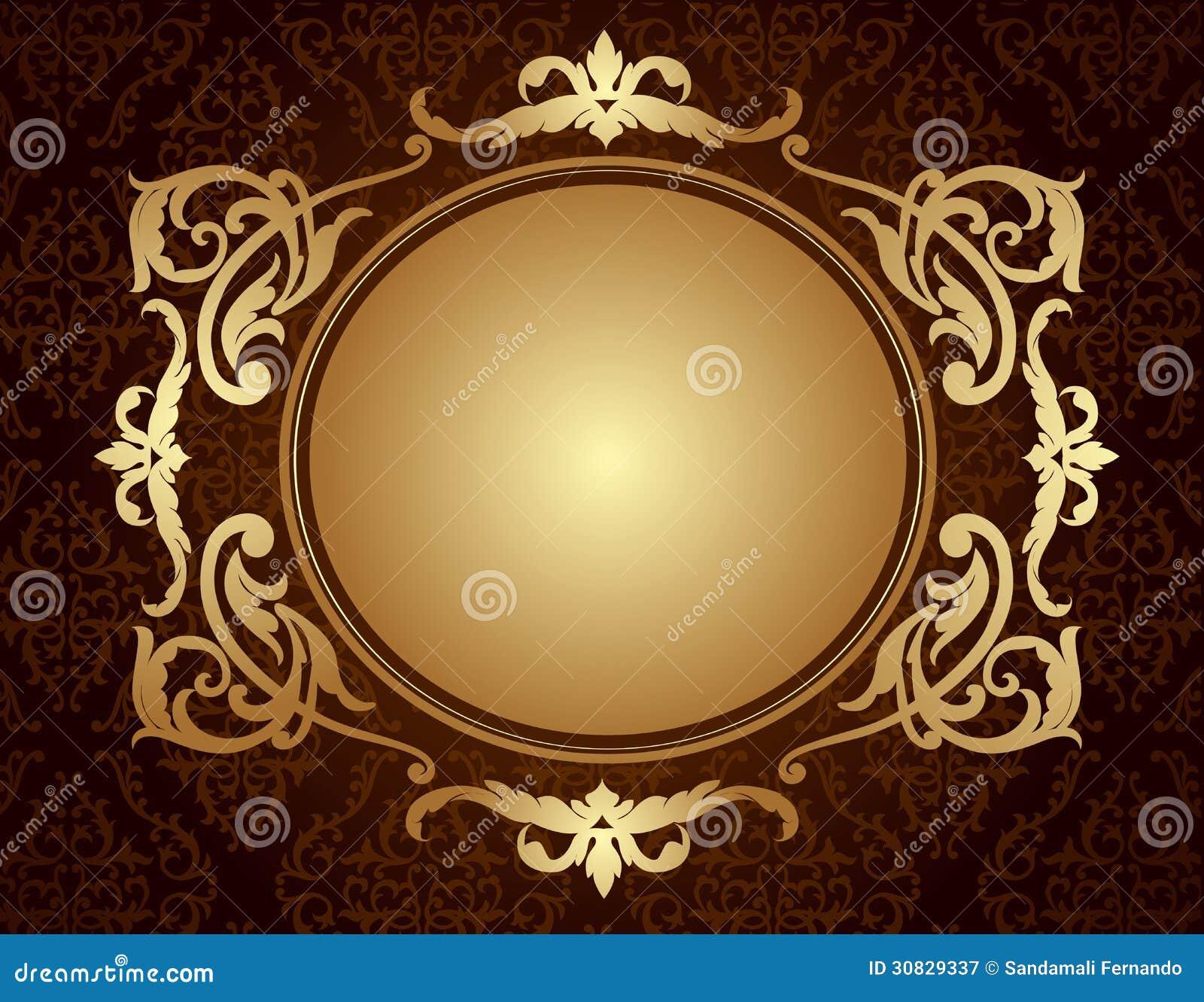 Gold Frame On Brown Damask Pattern Background Illustration 30829337