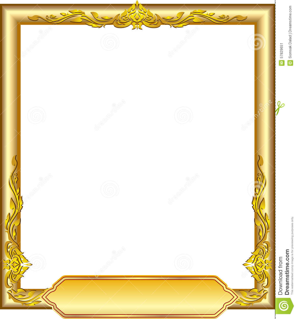 Gold frame floral stock vector. Image of element ...