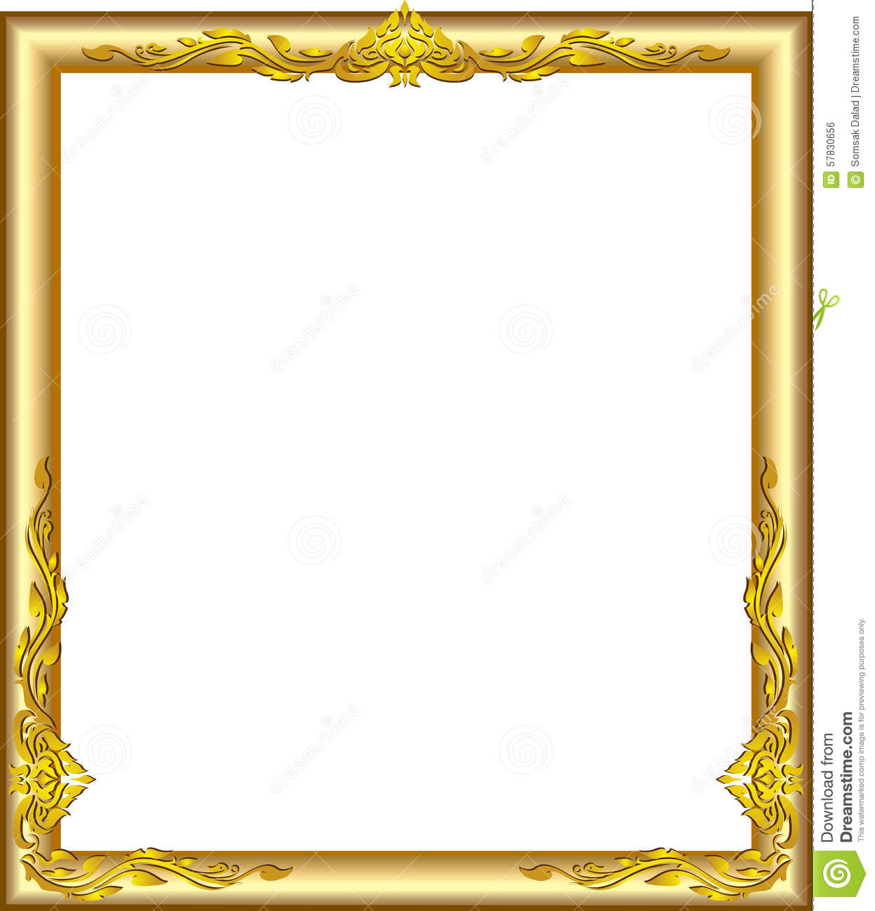 Line Art Box Design : Gold frame floral stock vector image
