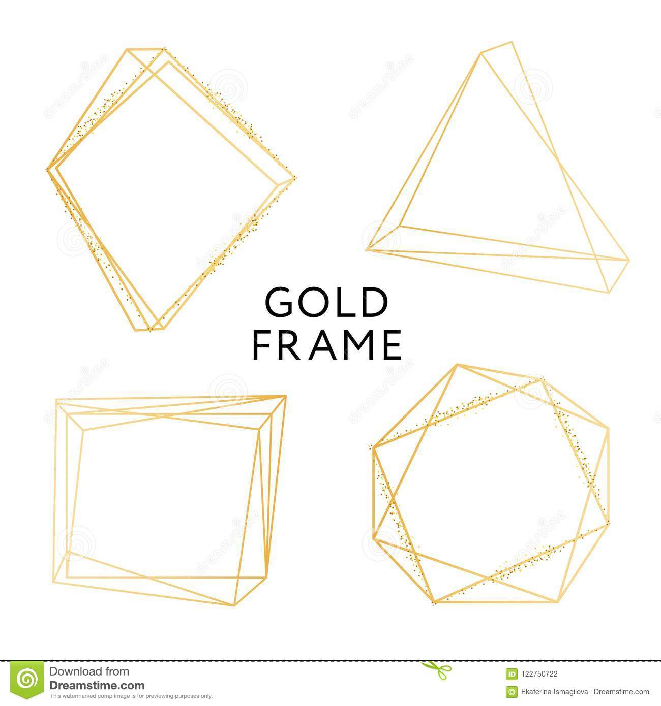 763838b20fb Gold Frame Geometric Shape Minimalism Vector Design Banner Golden Set. More  similar stock illustrations