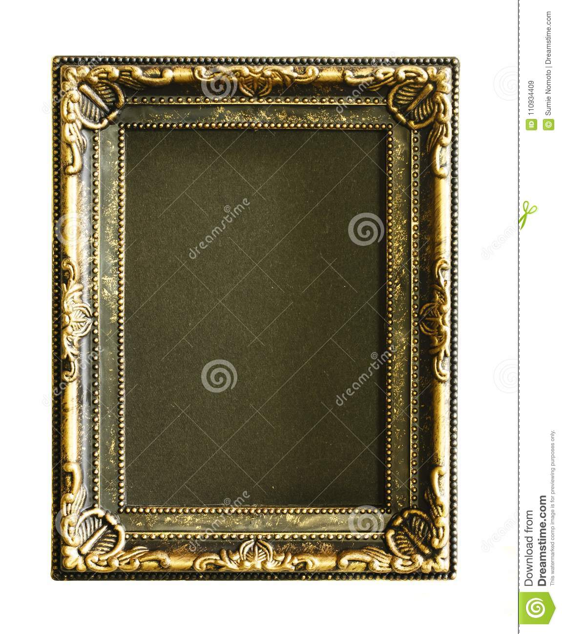 Gold frame. Gold/gilded arts and crafts pattern picture frame. on white. space is black.