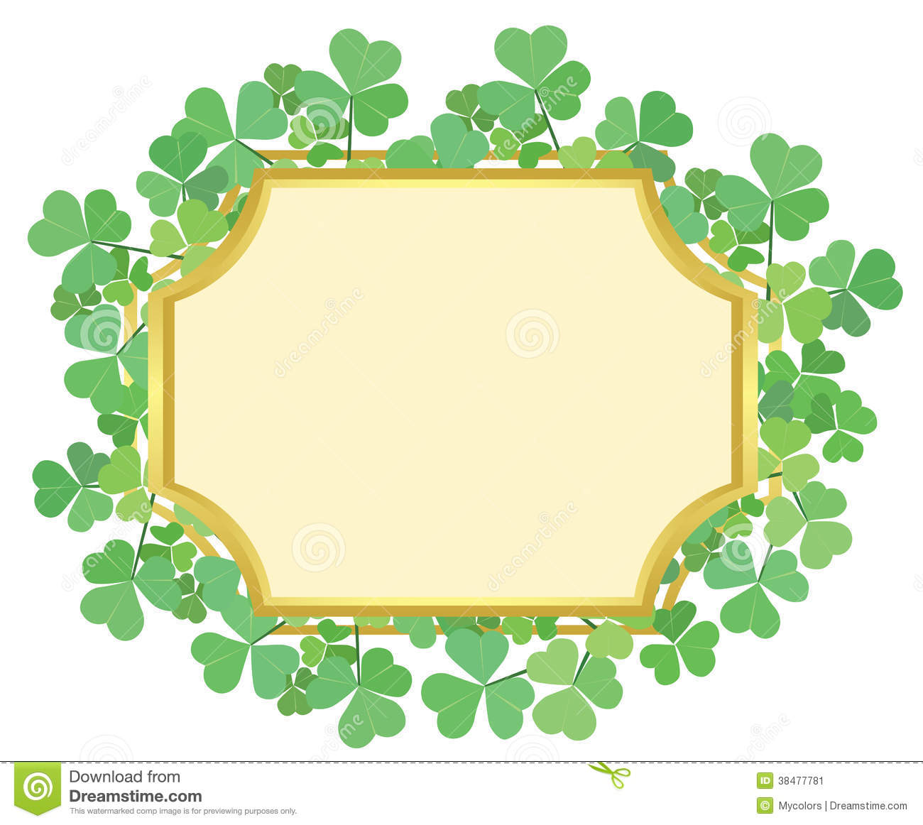 Gold Frame With Green Shamrock Vector Stock Vector Illustration