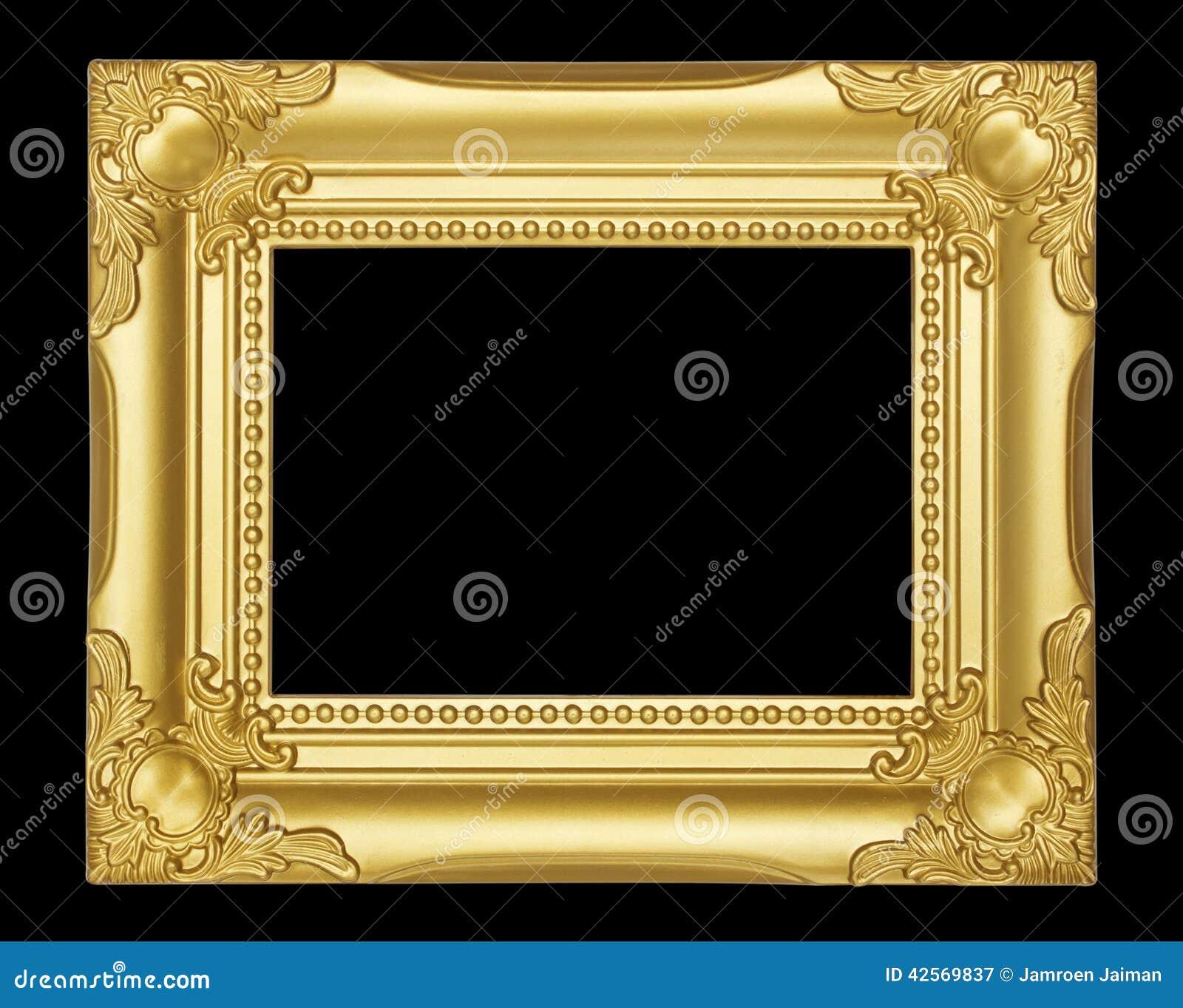 Gold Frame Isolated On Black Background Stock Image