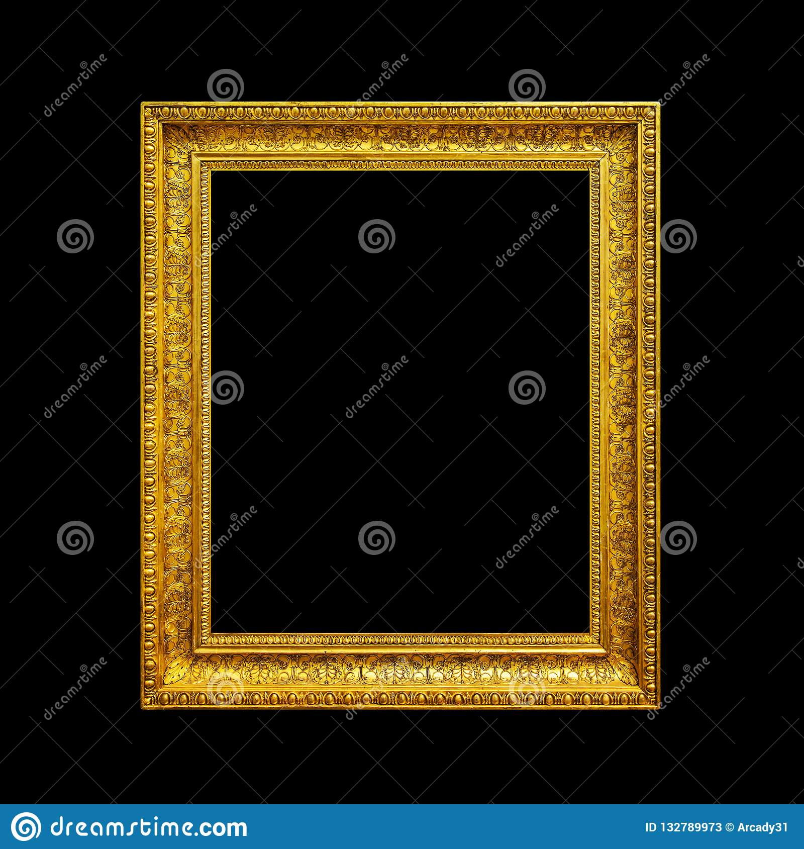 Gold Frame Isolated On Black Stock Image Image Of Gold Antique