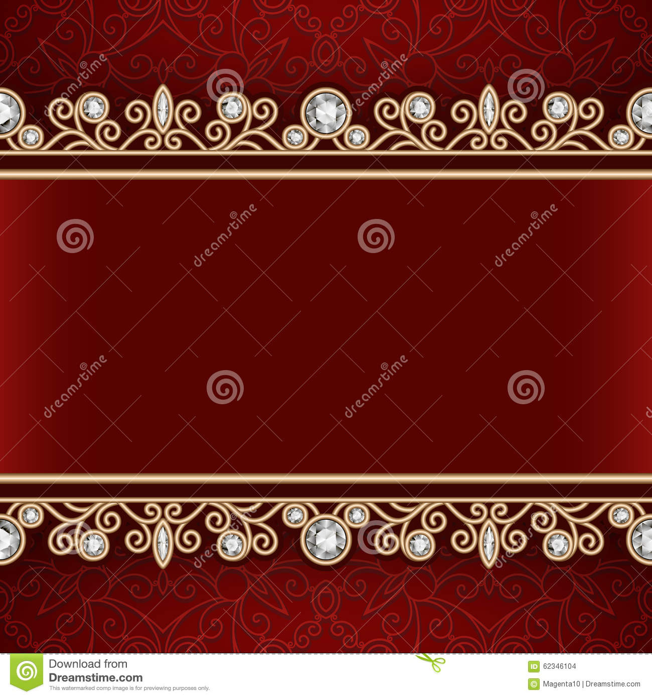Gold Frame With Jewelry Borders On Red Background Stock ...