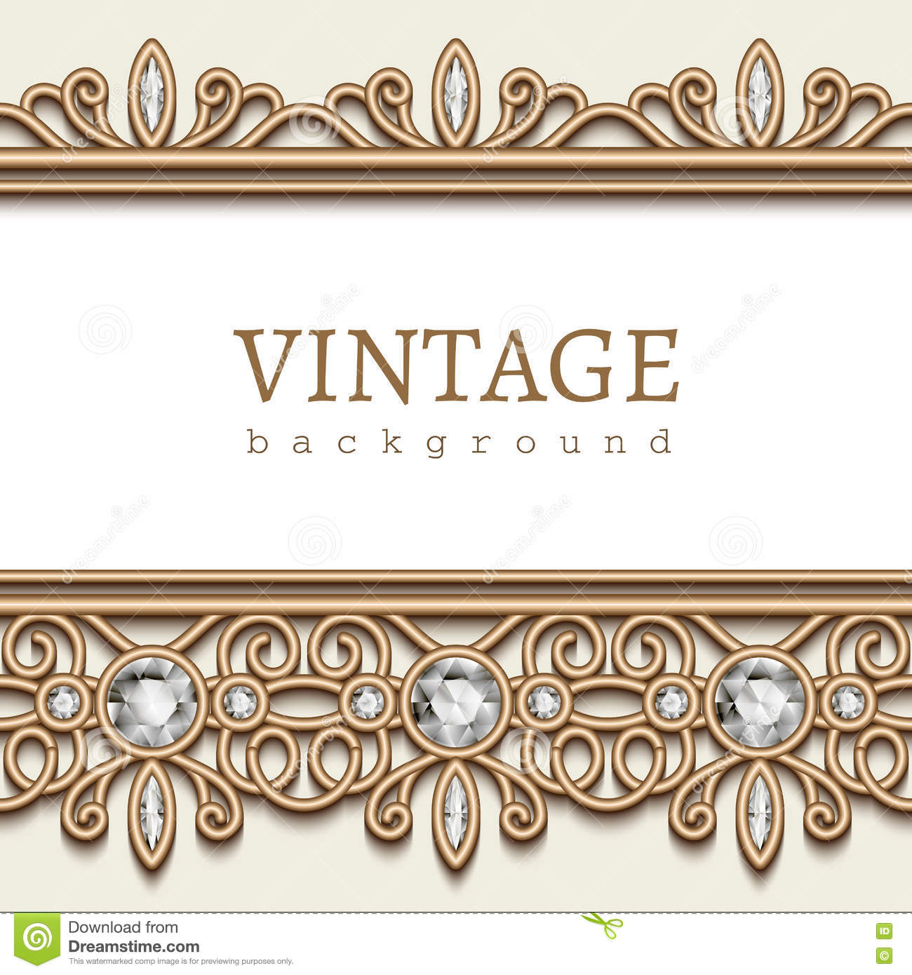 Gold Frame With Jewelry Borders On White Stock Vector Illustration