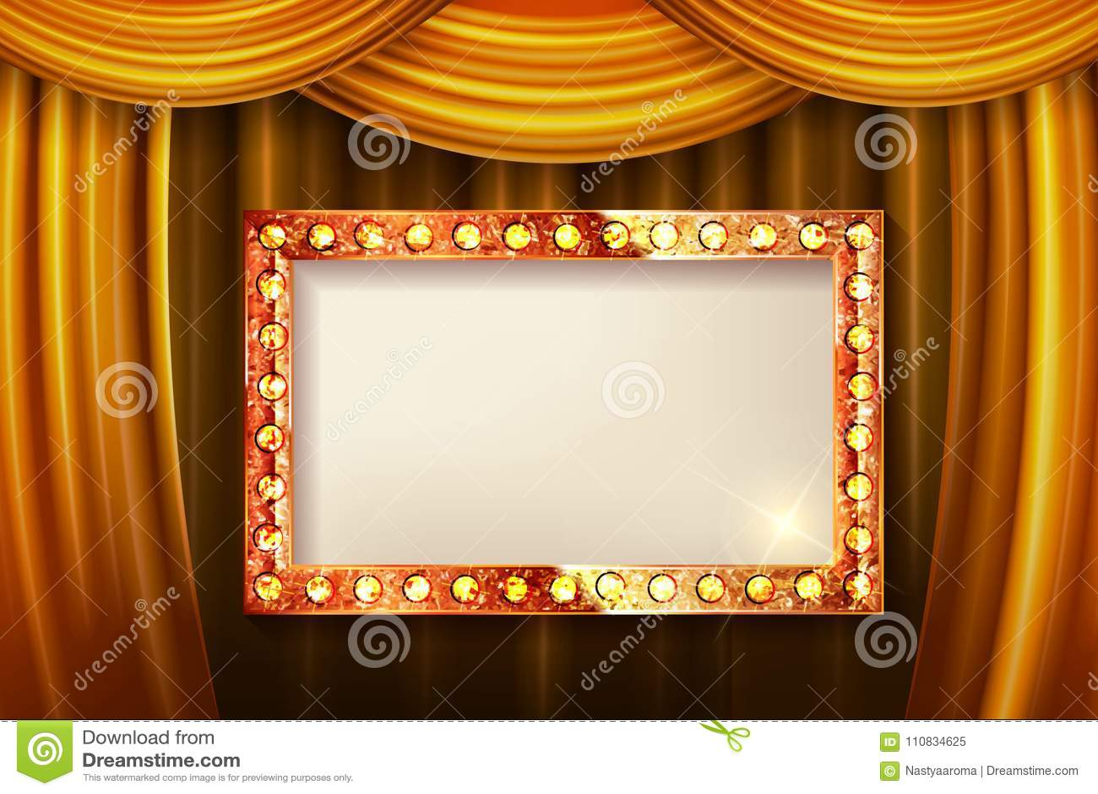 Gold Frame With Light Bulbs Stock Illustration - Illustration of ...