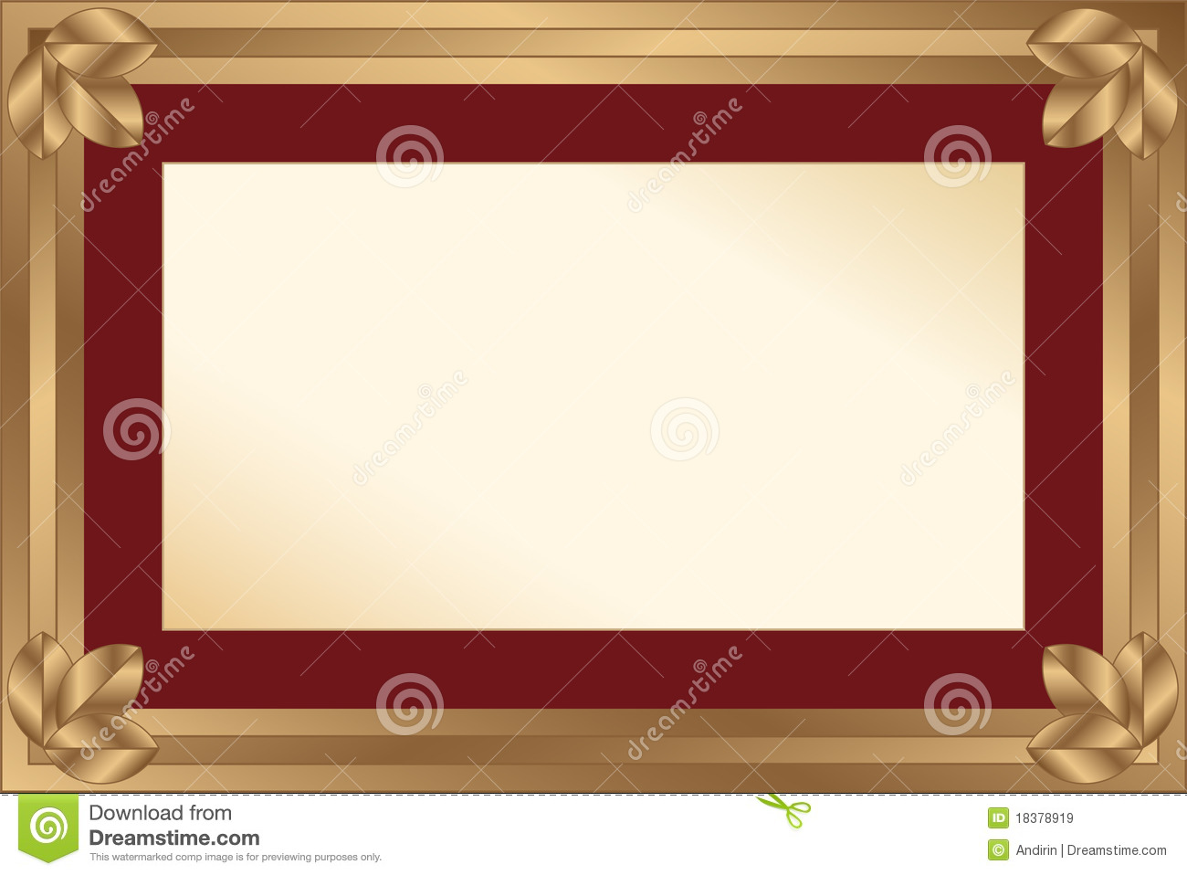 Gold frame with maroon passport for a photo or a diploma. The frame ...