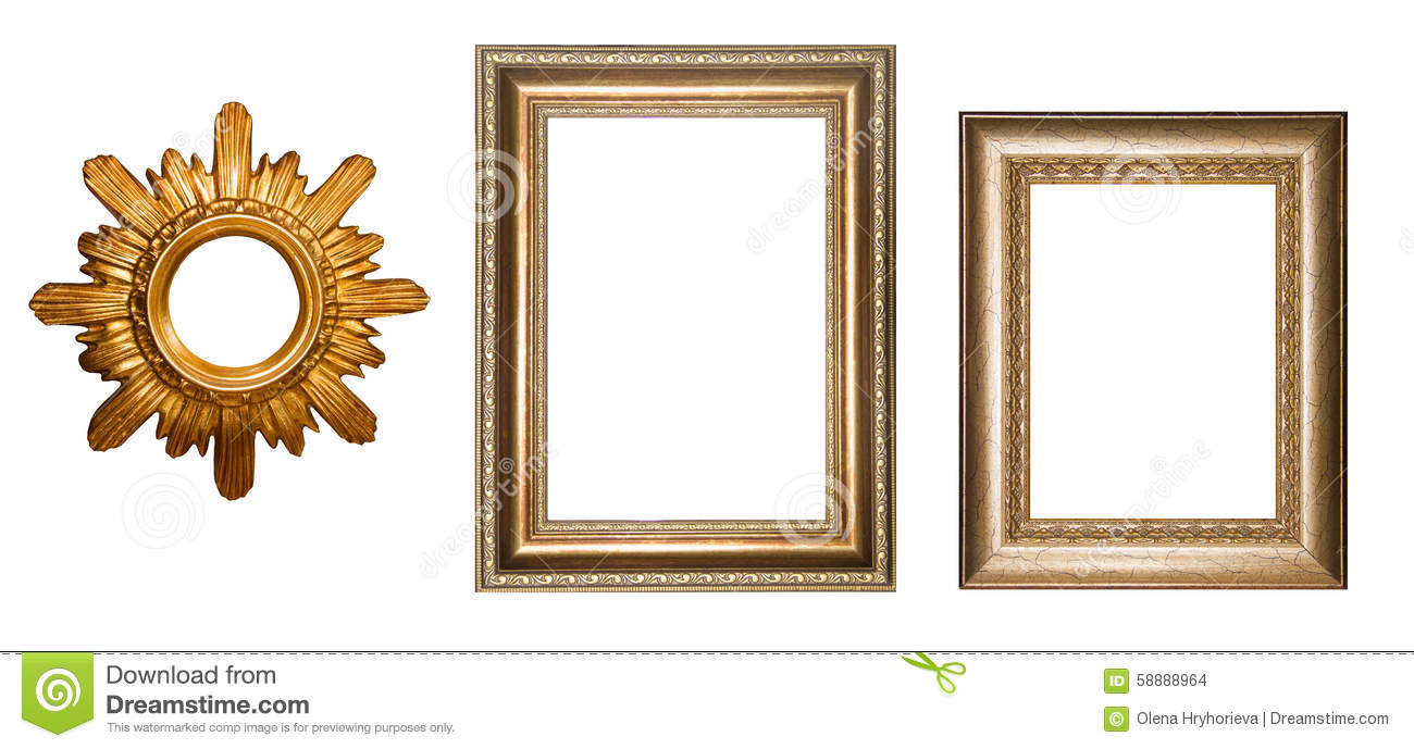 Gold Frame For Pictures. Collage. Vintage Frame. Stock Illustration ...