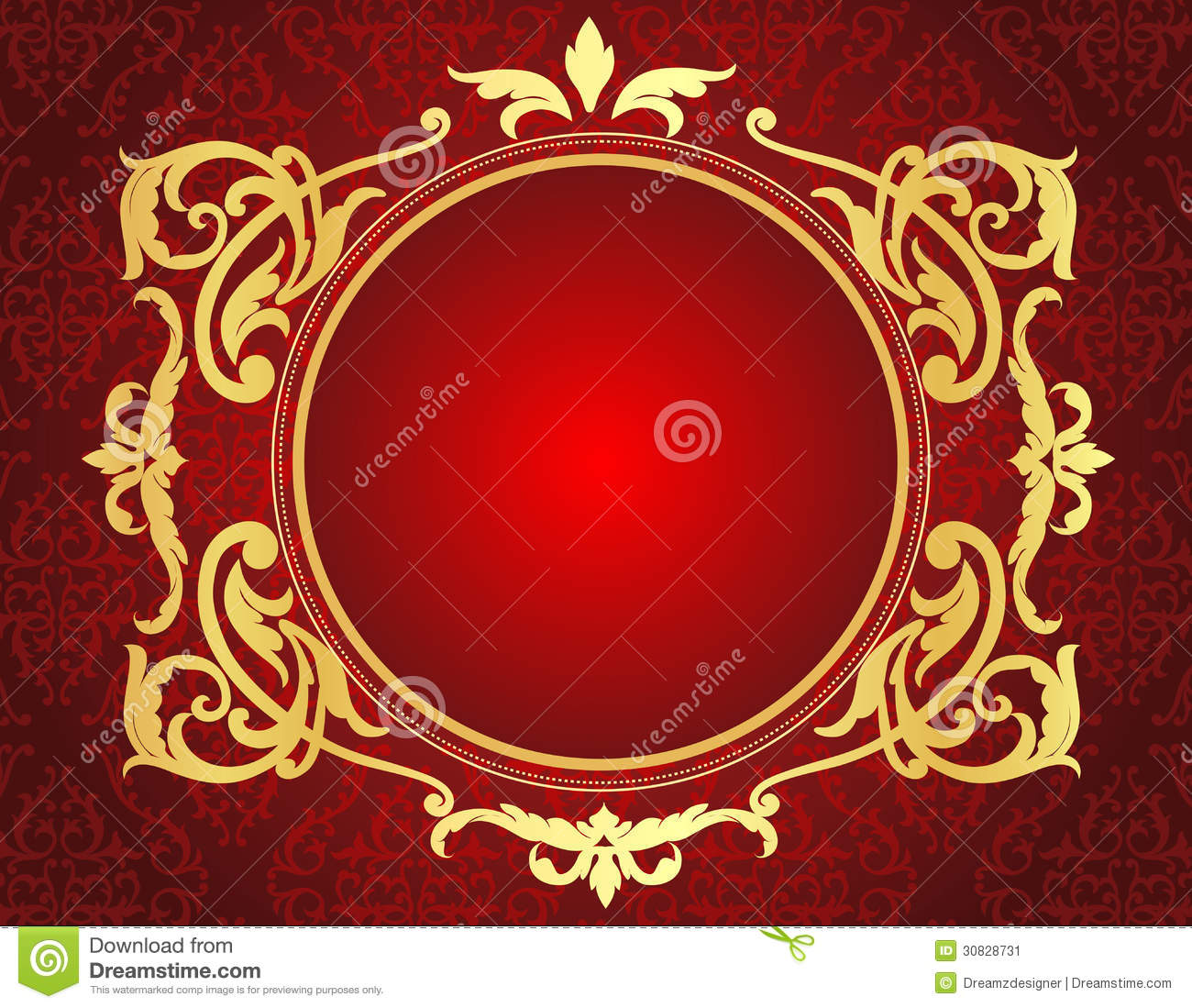 Gold Frame On Red Damask Pattern Background Stock Vector ...