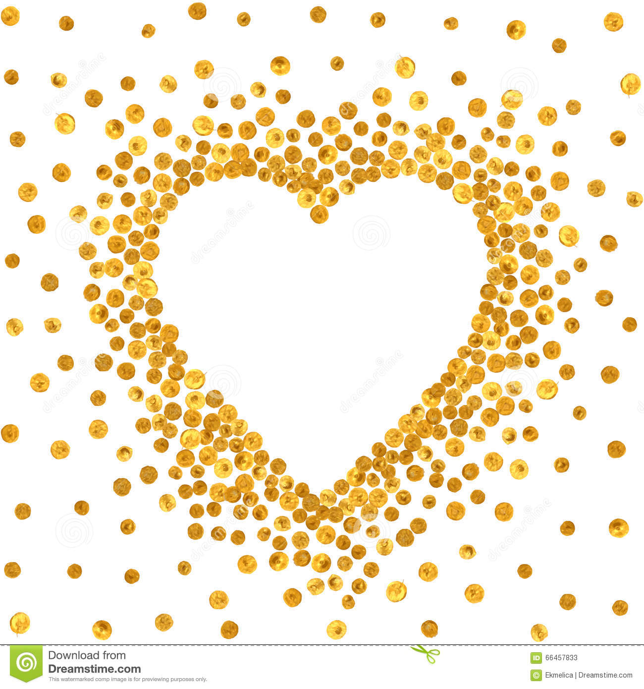 Gold Frame In The Shape Of Heart. Stock Vector ...