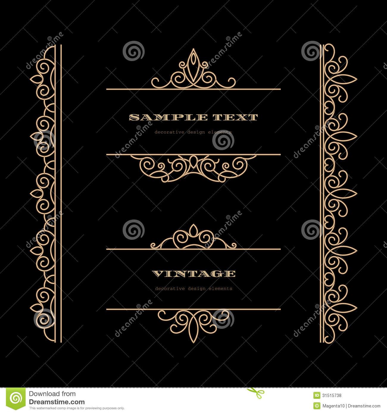 Vintage elements and borders set for ornate and decoration stock - Gold Frames And Borders Set Royalty Free Stock Photos
