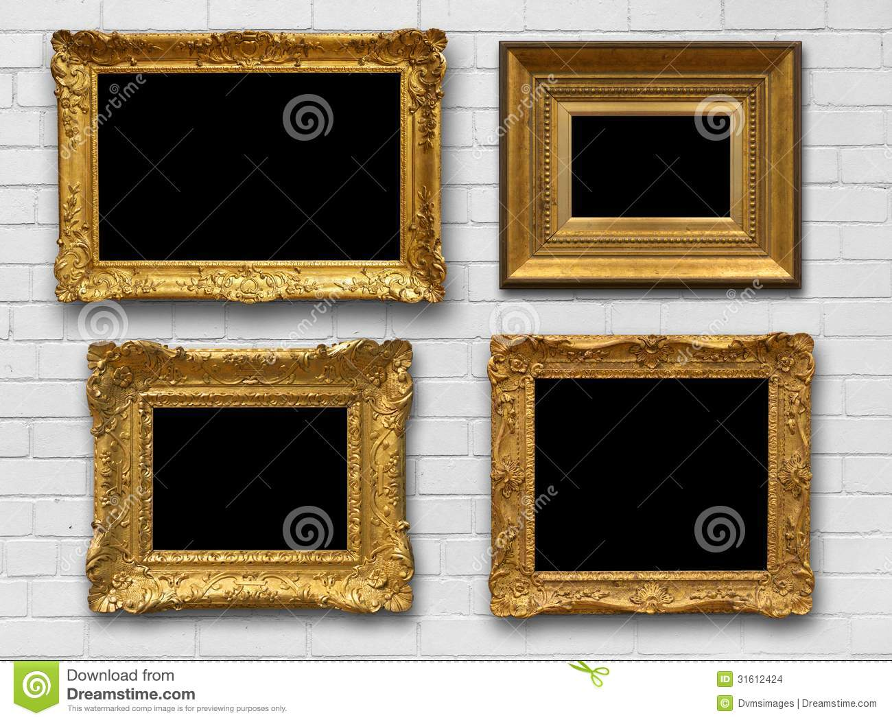 Gold Frames On Brick Wall Stock Photo Image Of Antique
