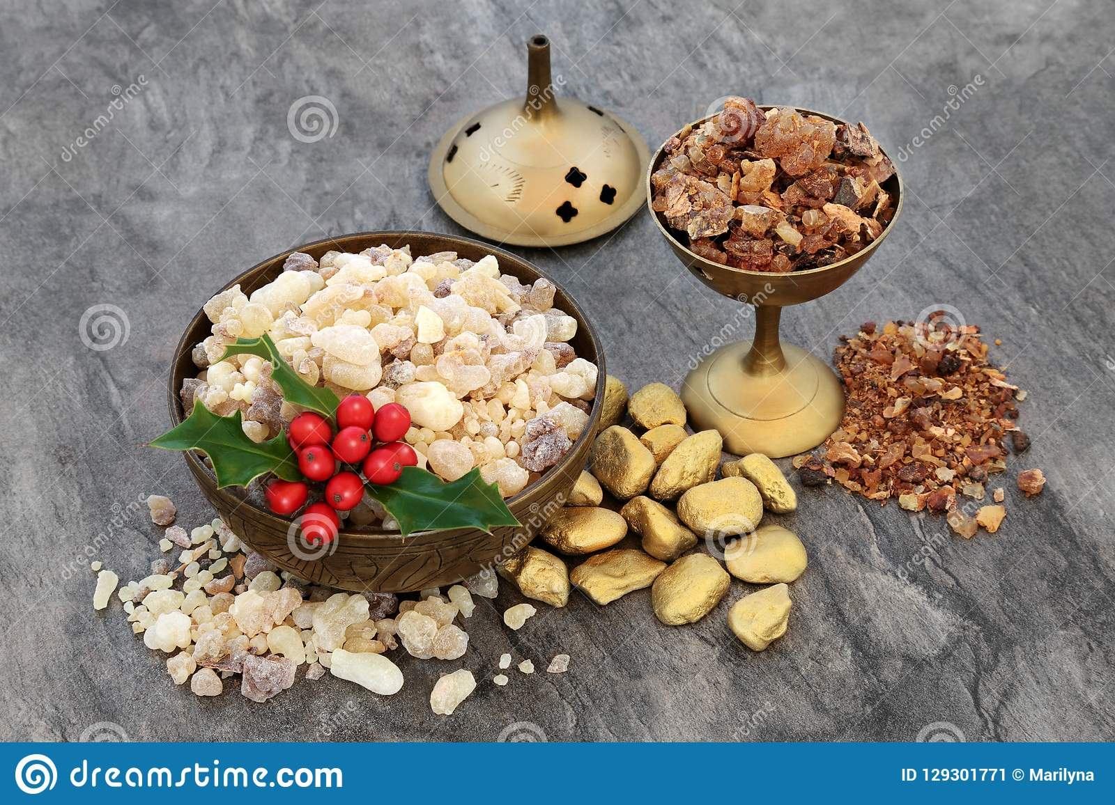 Gold Frankincense And Myrrh Christmas Gifts.Gold Frankincense And Myrrh With Holly Stock Image Image