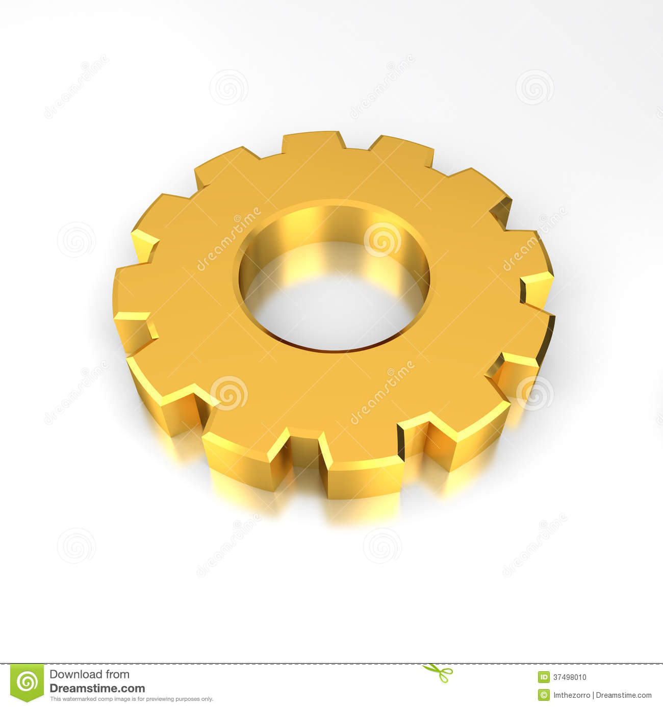 Gold Gear on reflective white background.