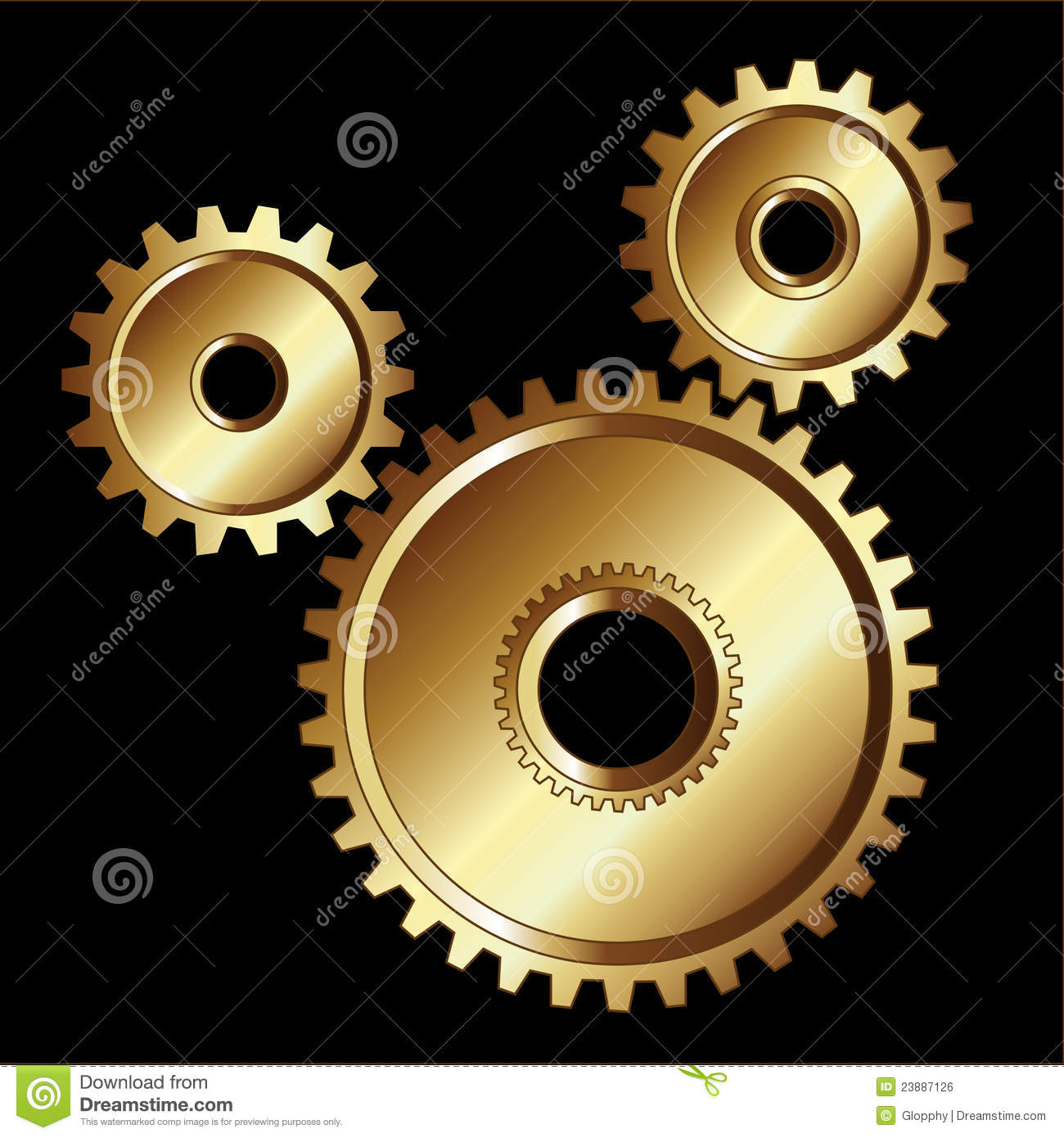 Gold Gears Machinery Tools Royalty Free Stock Image - Image: 23887126