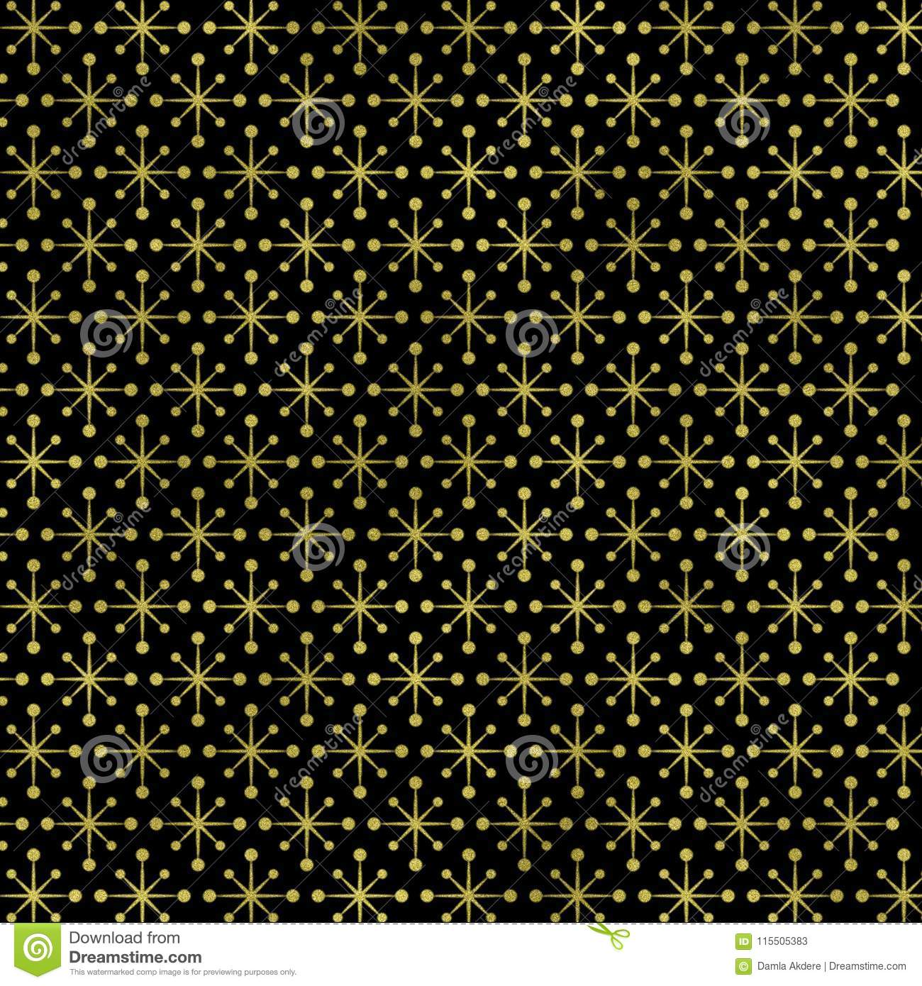 Gold Geometric On Black Background Gold Geometric Texture