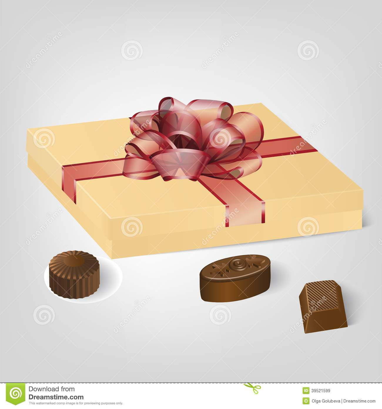 Gold gift box of chocolate candies