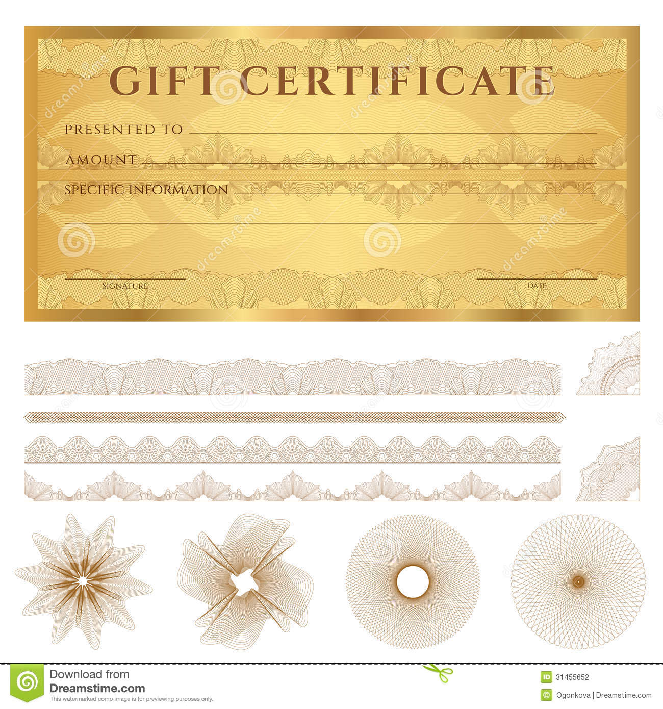 Gold Gift Certificate (Voucher) Template. Pattern  Check Voucher Template
