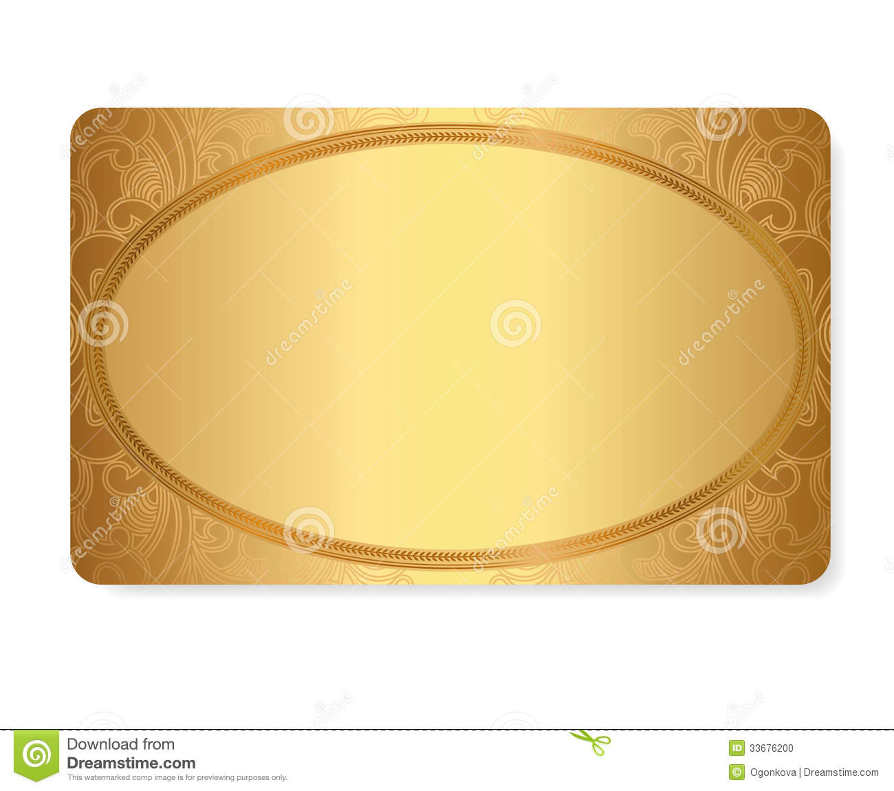 Gold Gift Coupon Gift Discount Card Ticket Te Stock Vector