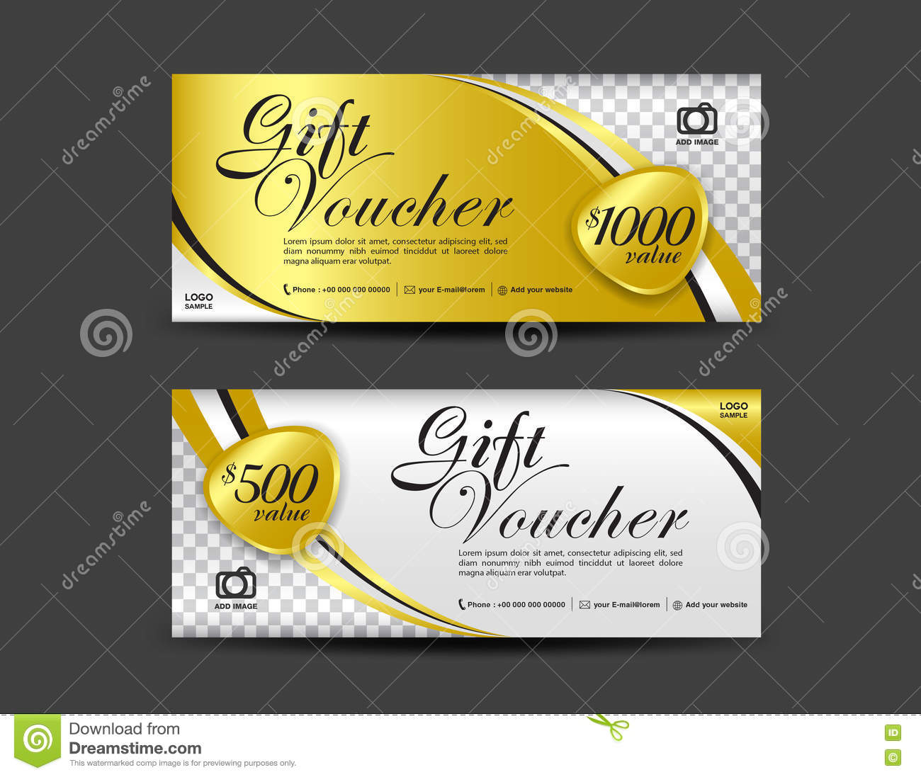 gold gift voucher template coupon design gift certificate stock