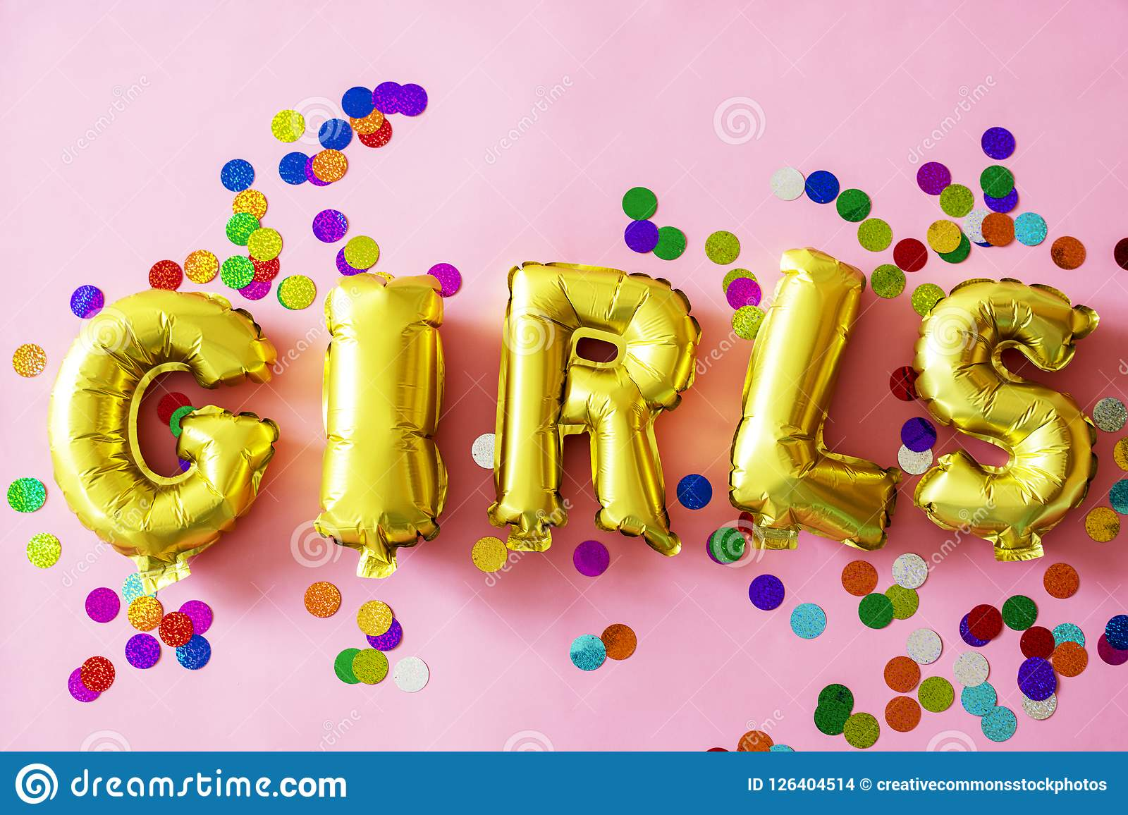 Free Public Domain CC0 Image: Gold Girls Letter Balloons On Pink ...
