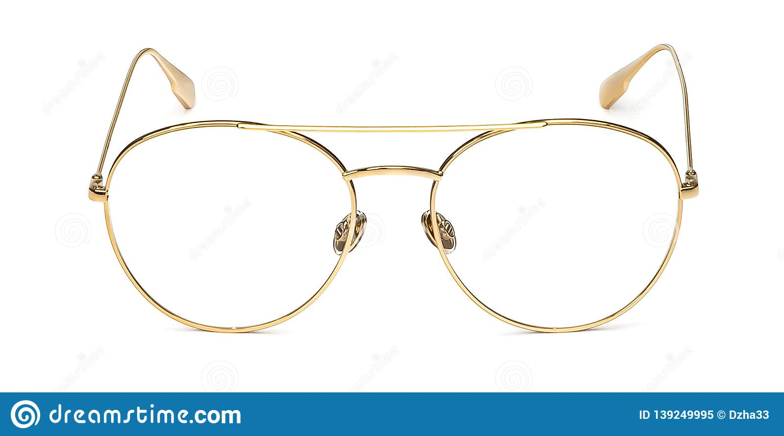 Gold glasses metal in round frame transparent for reading or good eye sight, front view isolated on white background