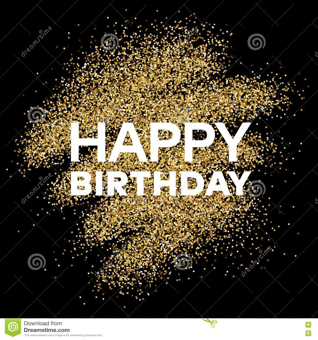 Gold Glitter Background With Happy Birthday Inscription