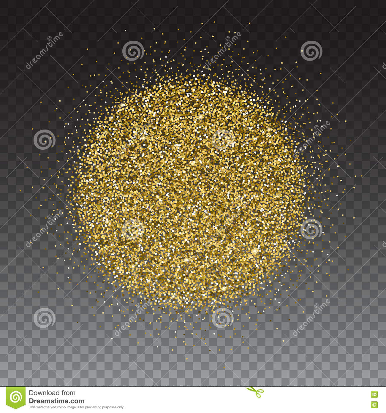 Gold glitter bright vector transparent background golden sparkles - Gold Glitter And Bright Sand Transparent Background Stock Vector
