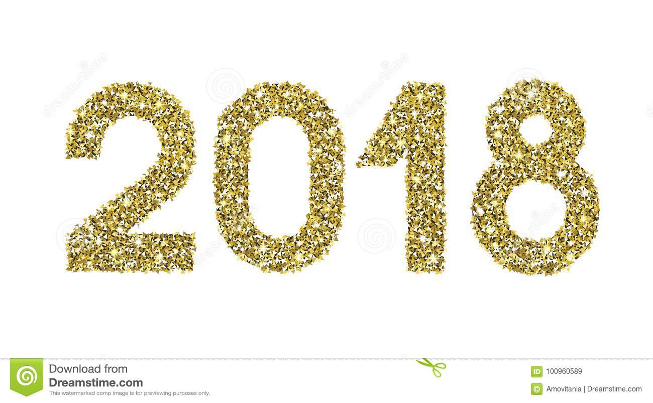 2018 Gold Glitter Date Happy New Year