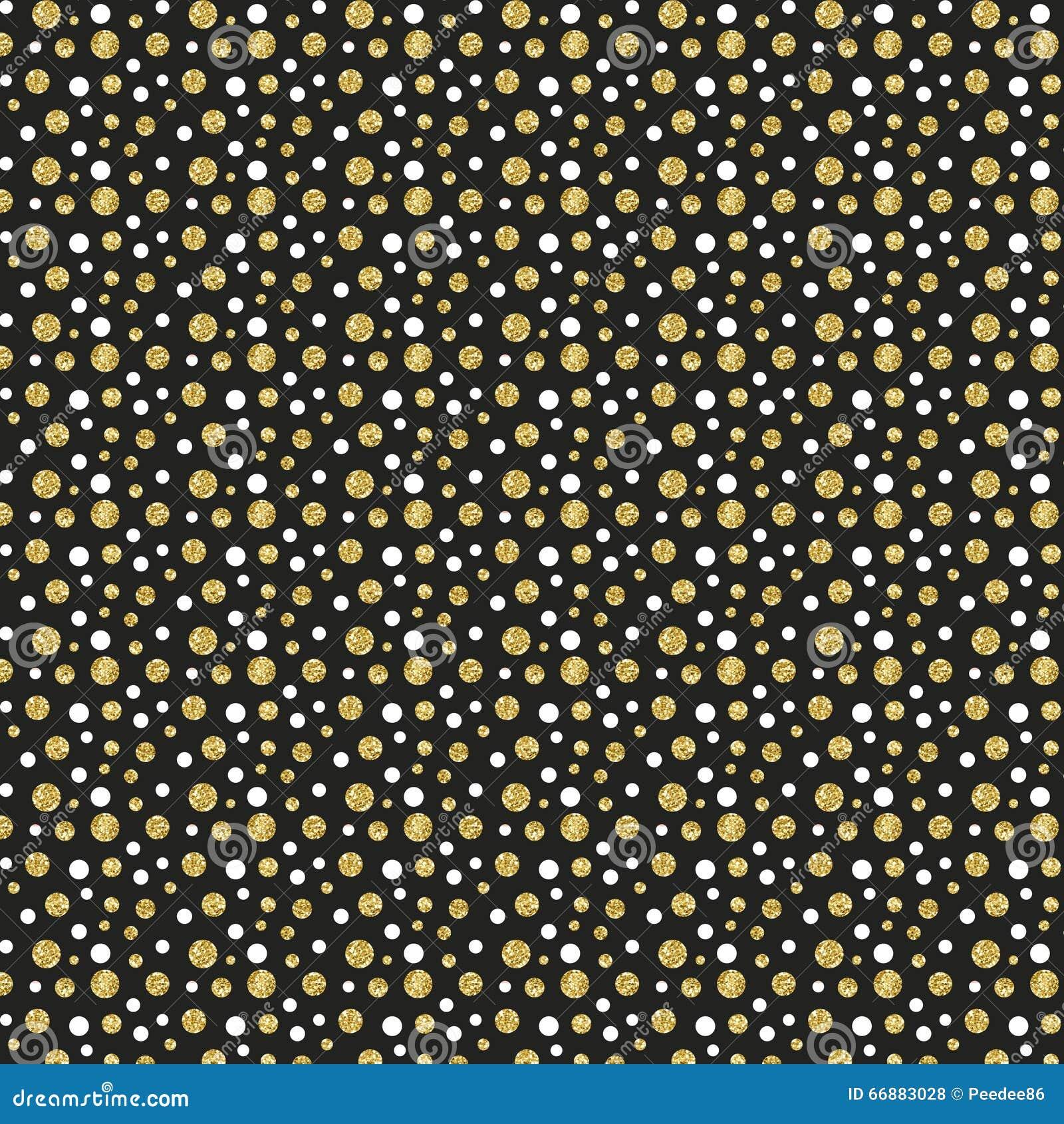 Gold Glitter Dots On Black Background Stock Illustration