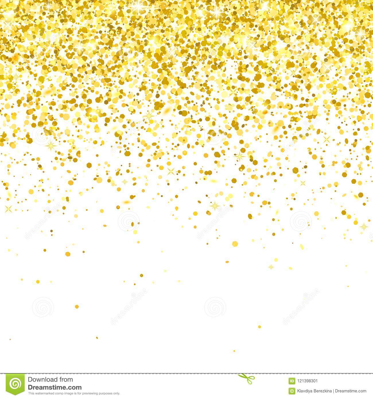 gold glitter falling particles on white background  vector