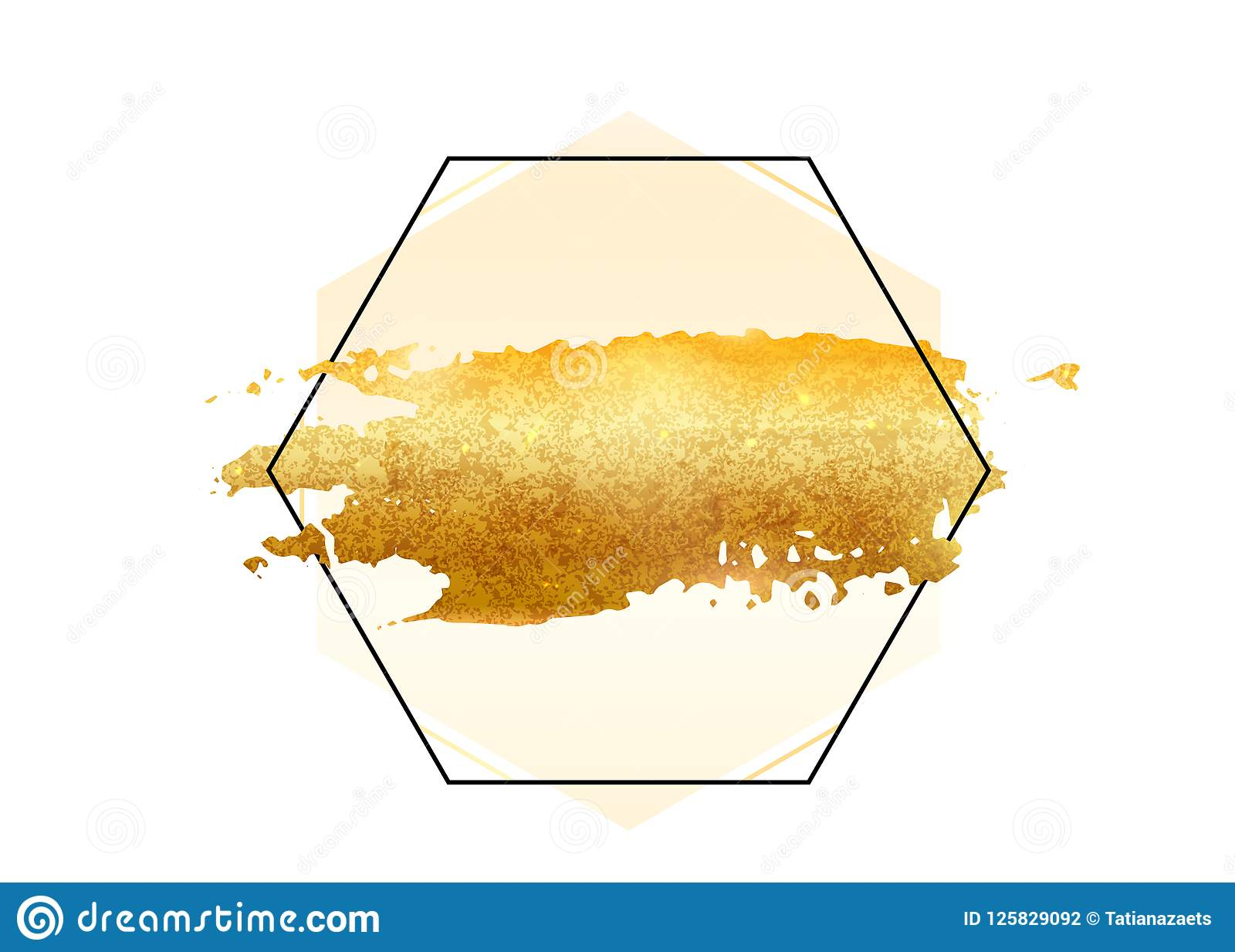 8ccf63af648c Royalty-Free Vector. Gold glitter foil brush stroke vector. Golden paint  smear with hexagon border frame isolated on