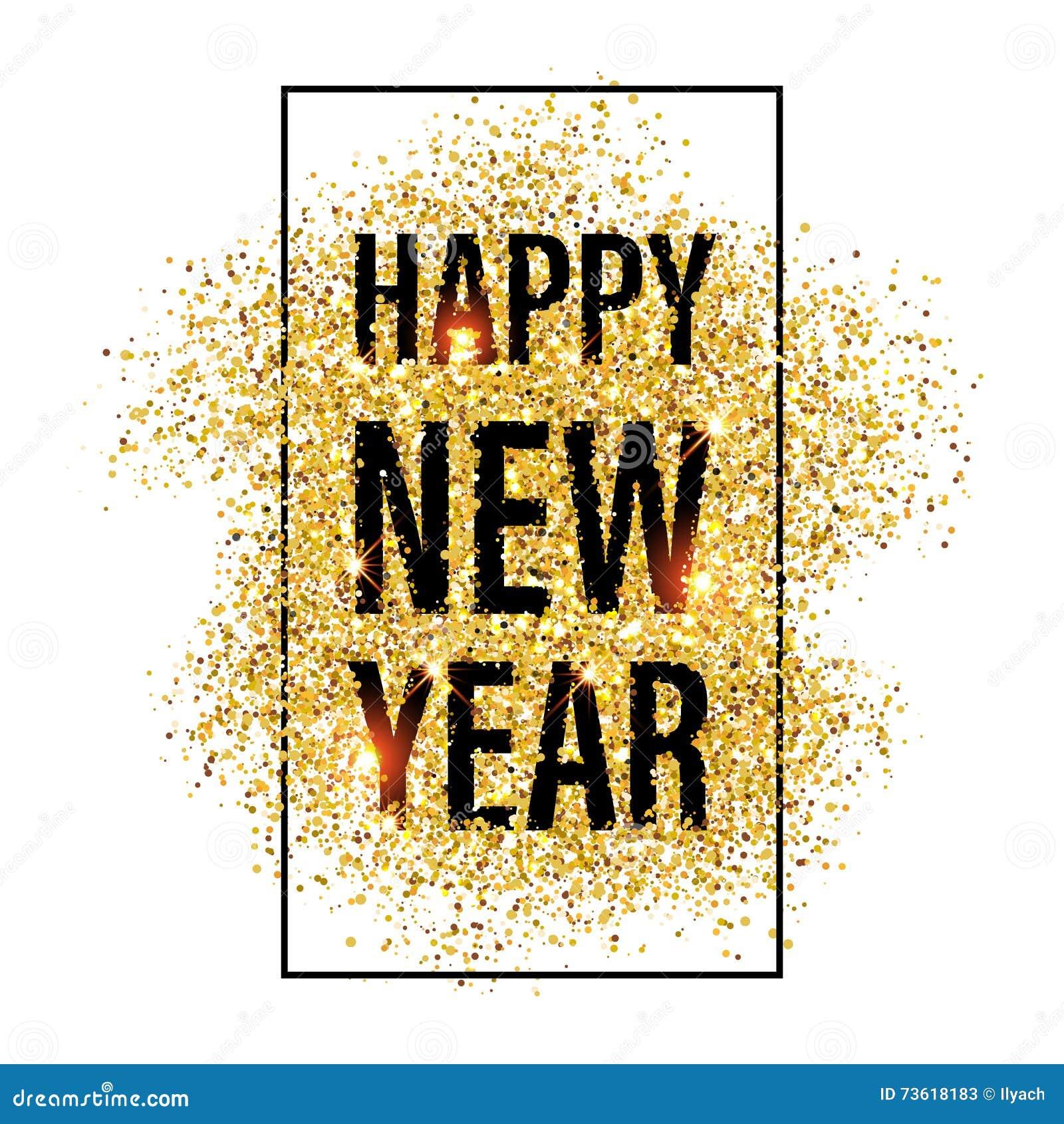 gold glitter happy new year 2017 background  stock illustration