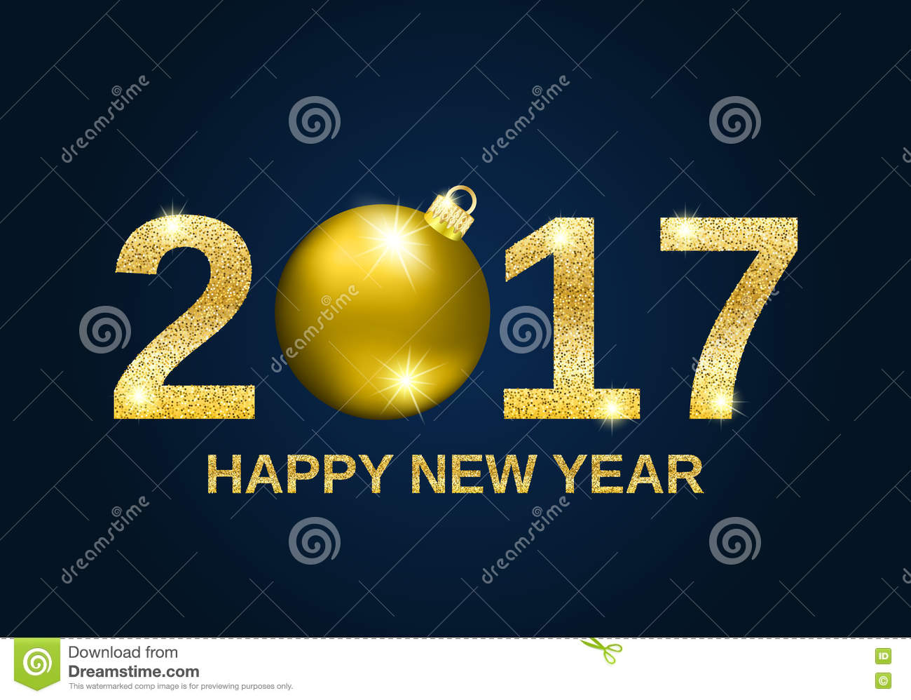 gold glitter happy new year 2017 background
