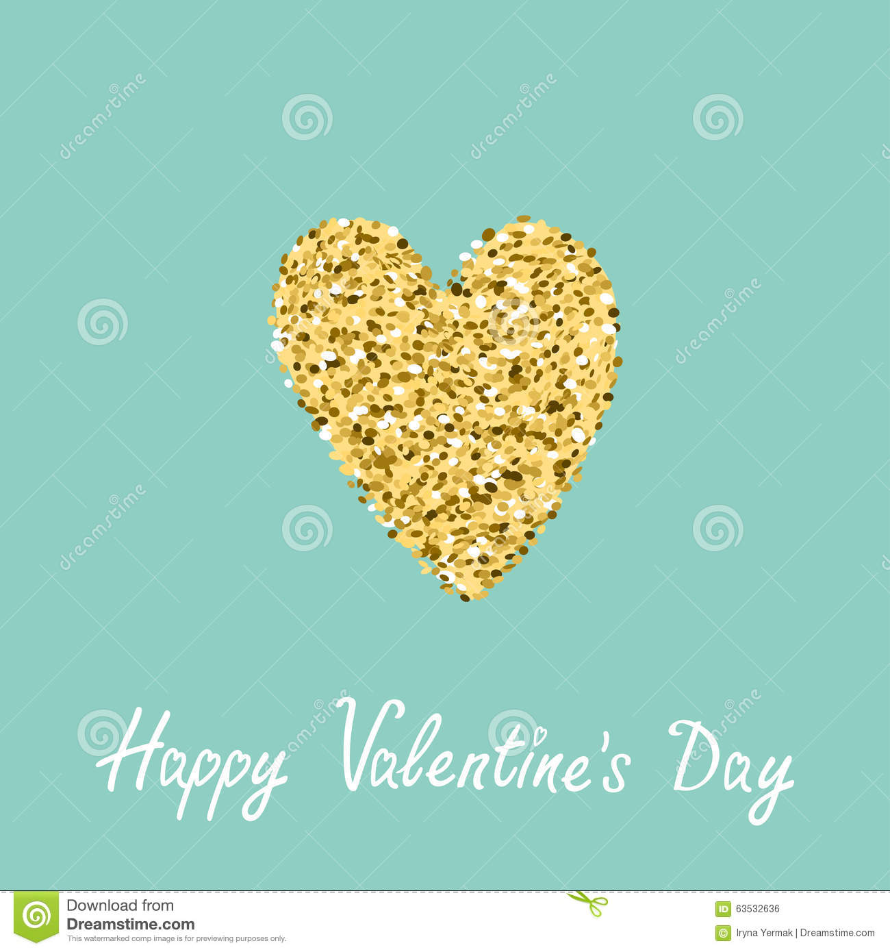 97afa98e4214 Gold glitter heart. Flat design Blue background. Happy Valentines day