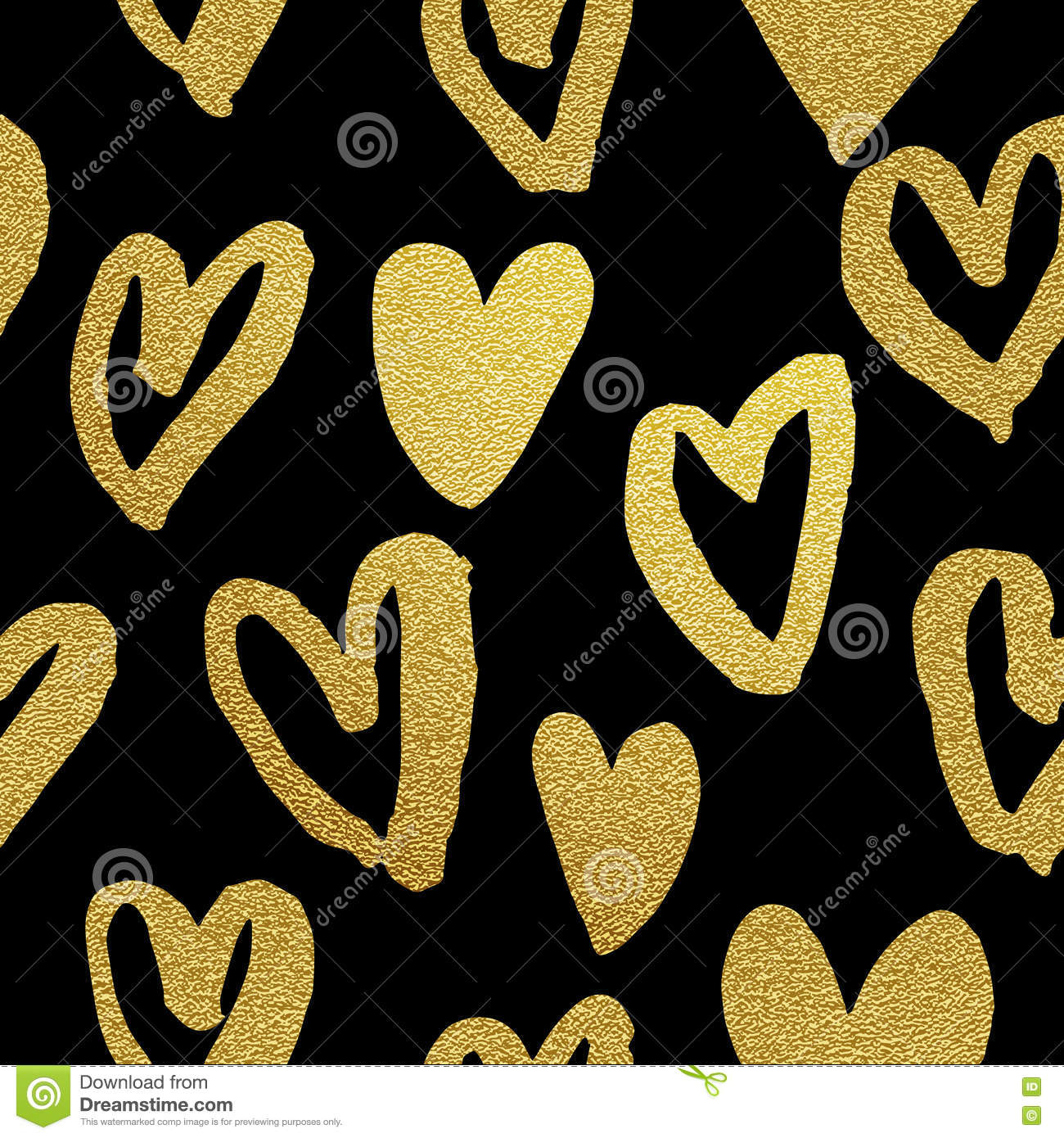 a5733f0197c4 Hearts pattern of gold glitter. Valentine Day golden glittering hearts  black background. Gold foil heart seamless design 14 February love  celebration.