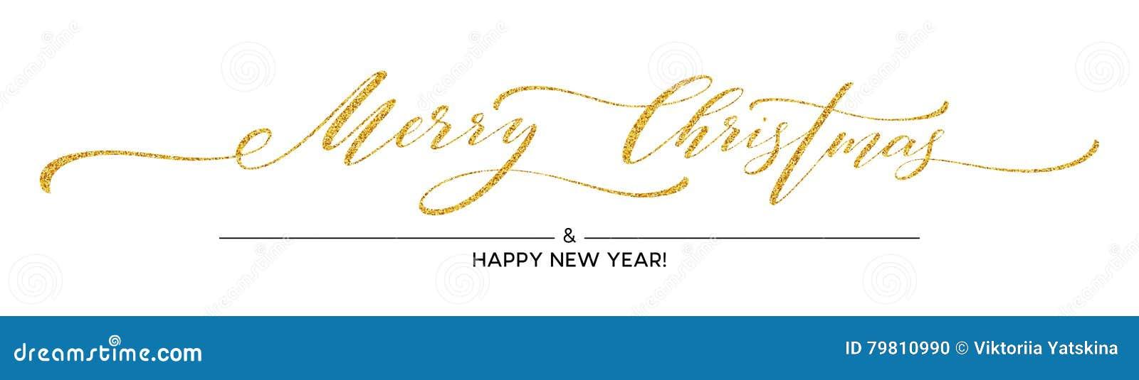 Gold Glitter Merry Christmas Lettering Design Greeting