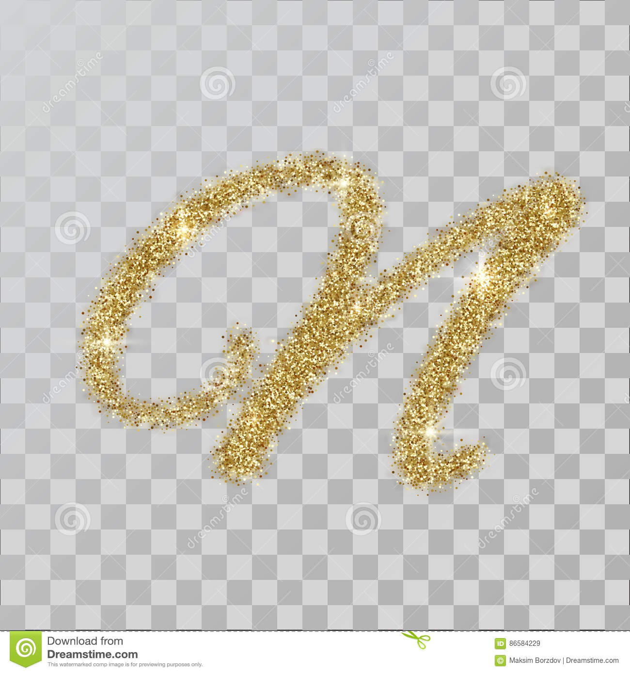 Gold Glitter Powder Letter N In Hand Painted Style Stock Vector